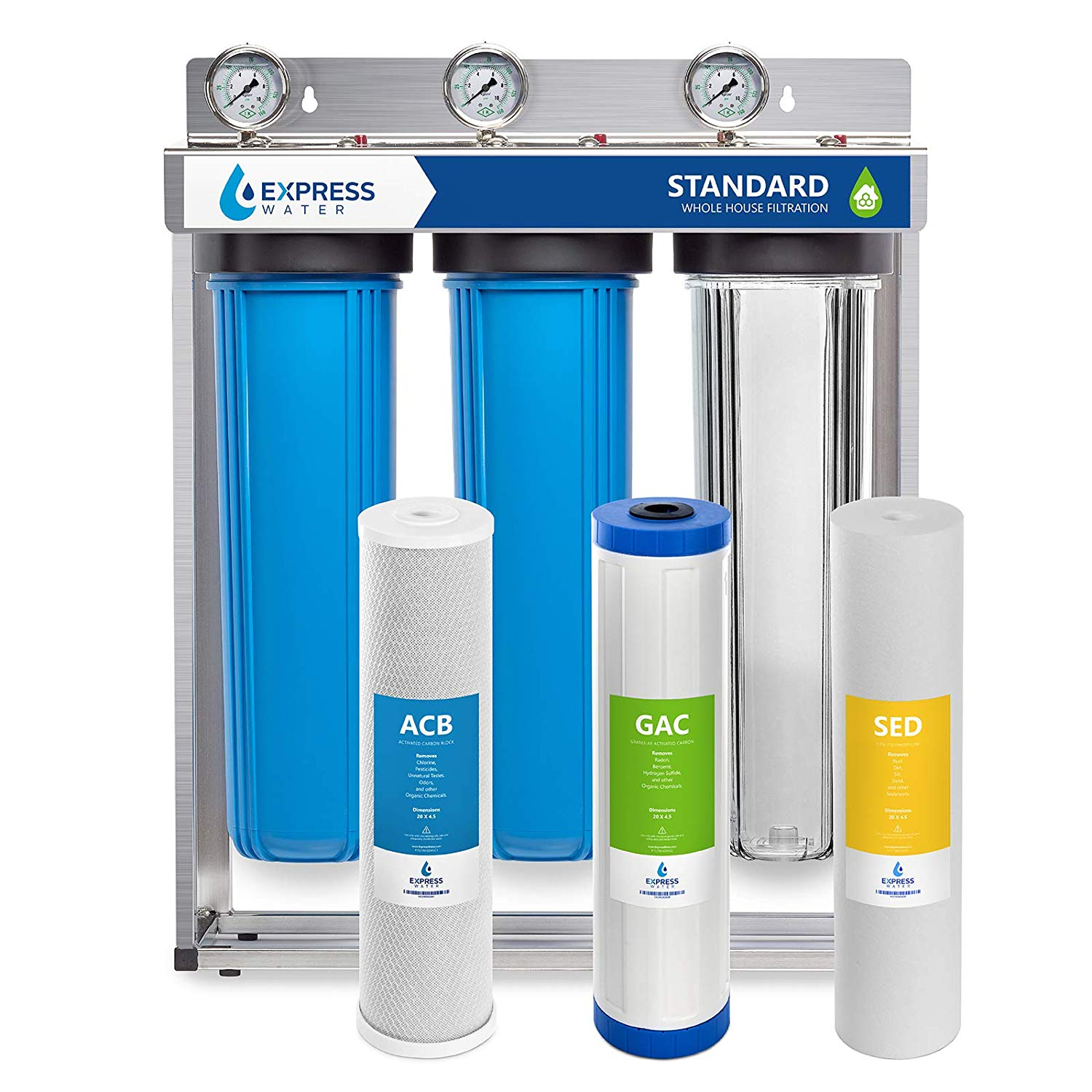 Express Water Whole House Water Filter, 3 Stage Home Water Filtration System - Water Purifier