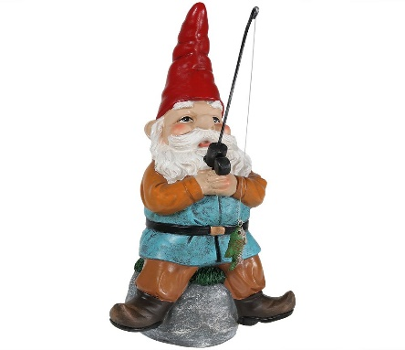 Sunnydaze Garden Gnome Floyd the Fishing Lawn Statue - Garden Ornaments