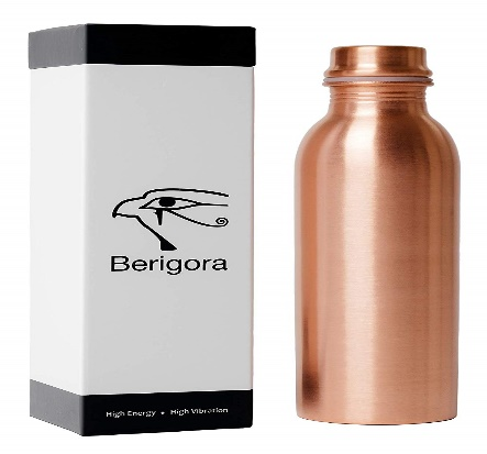 Berigora 30oz Pure Copper Water Bottle Ayurvedic