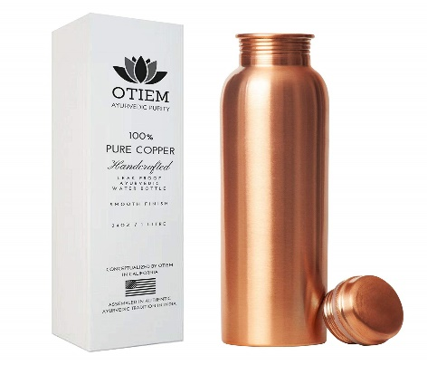 Otiem 100 Pure Copper Water Bottle Ayurvedic