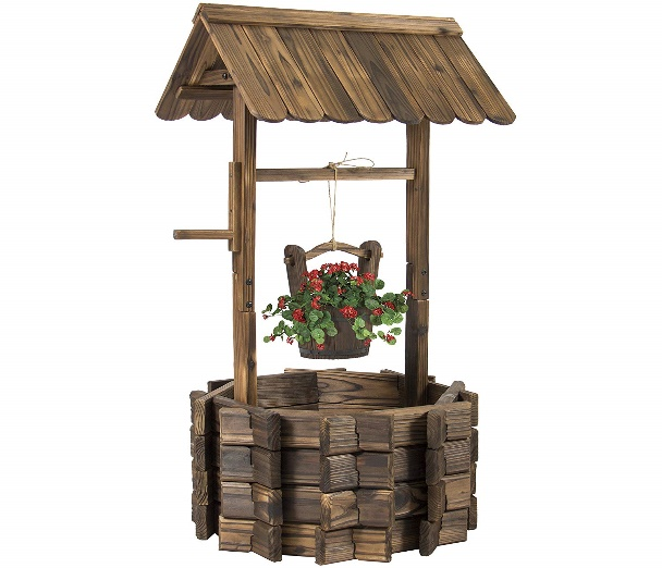 Best Choice Products Wooden Wishing Well Bucket Flower Planter - Garden Ornaments