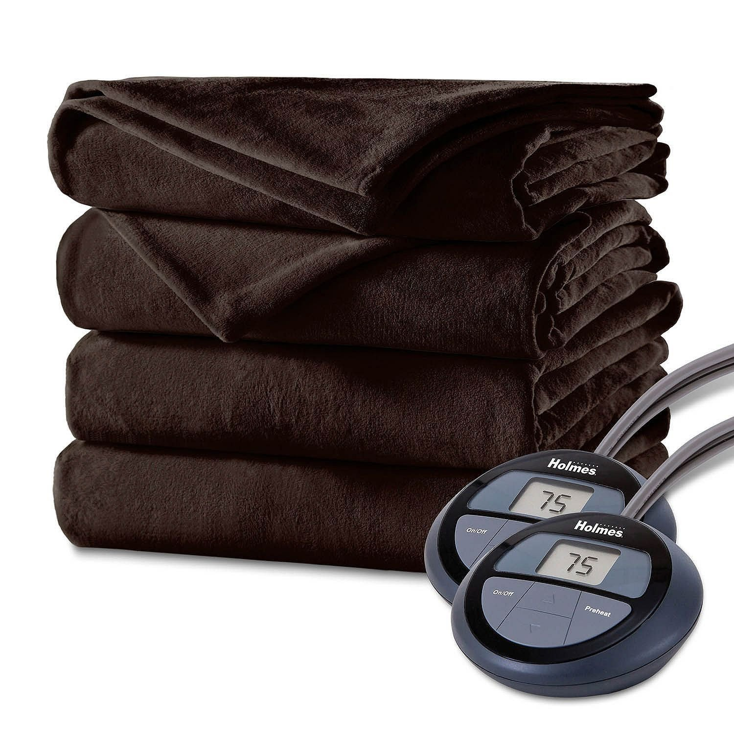 Holmes Luxury Velvet Plush Heated Blanket (Various Sizes and Colors) - Heated Blankets