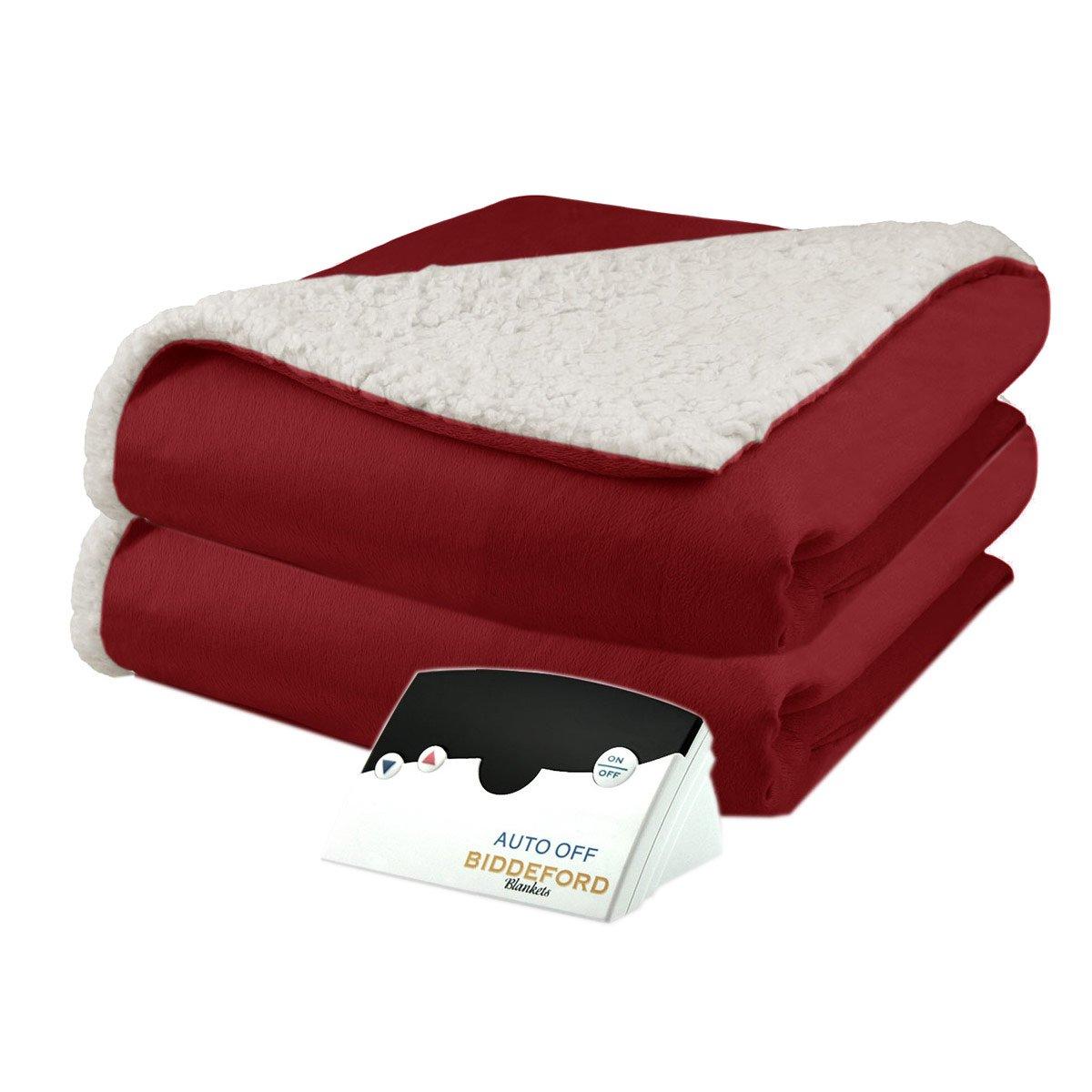 Biddeford 6001-9051136-300 Micro Mink and Sherpa Electric Heated Blanket Full Brick - Heated Blankets