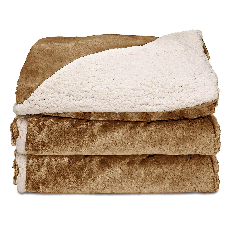 Sunbeam Heated Throw Blanket | Reversible Sherpa/Royal Mink - Heated Blankets