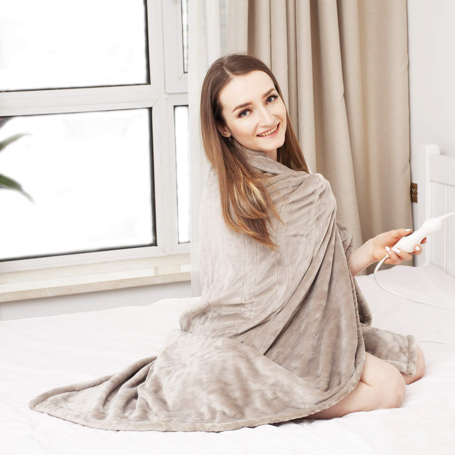 Tefici Washable Snuggle Heated Throw Blanket with Fast Heating Technology - Heated Blankets