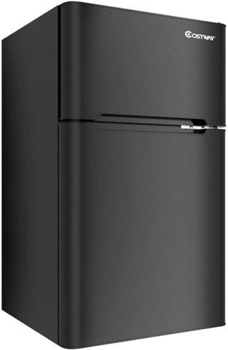 COSTWAY Compact Refrigerator, 3.2 cu ft. Unit 2-Door Mini Freezer